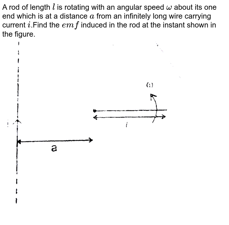 """A rod of length `l` is rotating with an angular speed `omega` about its one end which is at a distance `a` from an infinitely long wire carrying current `i`.Find the `emf` induced in the rod at the instant shown in the figure. <br> <img src=""""https://d10lpgp6xz60nq.cloudfront.net/physics_images/RES_ELE_PHY_V02_XII_C02_S01_015_Q01.png"""" width=""""80%"""">"""