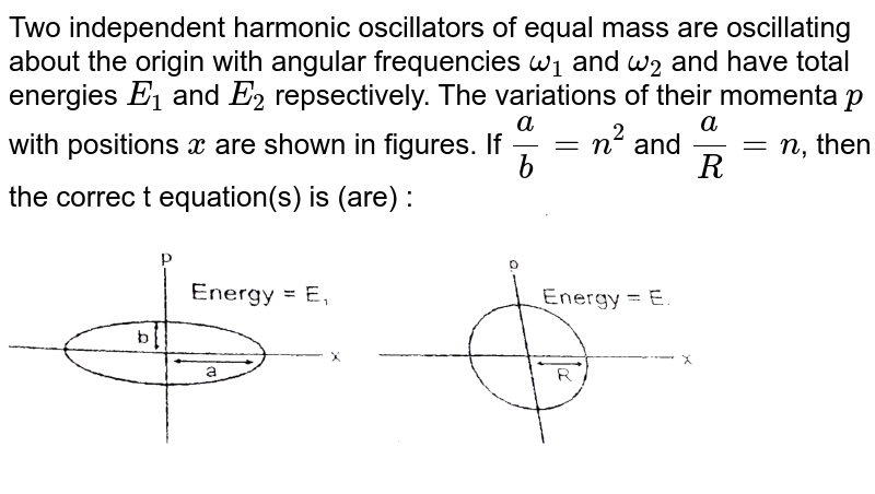 """Two independent harmonic oscillators of equal mass are oscillating about the origin with angular frequencies `omega_(1)` and `omega_(2)` and have total energies `E_(1)` and `E_(2)` repsectively. The variations of their momenta `p` with positions `x` are shown in figures. If `(a)/(b) = n^(2)` and `(a)/(R) = n`, then the correc t equation(s) is (are) : <br> <img src=""""https://d10lpgp6xz60nq.cloudfront.net/physics_images/RES_WFPM_PHY_XI_C04_E01_162_Q01.png"""" width=""""80%"""">"""