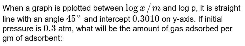 When a graph is pplotted between `log x//m` and log p, it is straight line with an angle `45^(@)` and intercept `0.3010` on y-axis. If initial pressure is `0.3` atm, what will be the amount of gas adsorbed per gm of adsorbent: