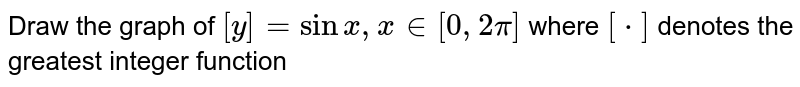 Draw the graph of `[y] = sin x, x in [0,2pi]` where `[*]` denotes the greatest integer function
