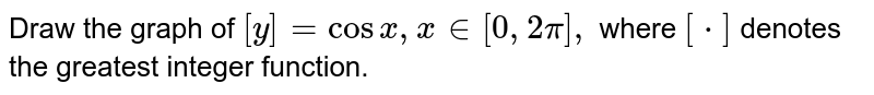 Draw the graph of `[y] = cos x, x in [0, 2pi],`  where `[*]` denotes the greatest integer function.