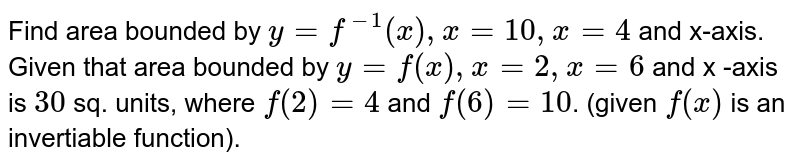 Find area bounded by `y = f^(-1)(x), x = 10, x = 4` and x-axis. <br> Given that  area bounded by `y = f(x) , x = 2, x = 6` and x -axis is `30` sq. units, where `f(2) = 4` and `f(6) = 10`. (given `f(x)`  is an invertiable  function).
