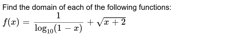 Find the domain of each of the following functions: `f(x)=1/(log_(10)(1-x))+sqrt(x+2)`