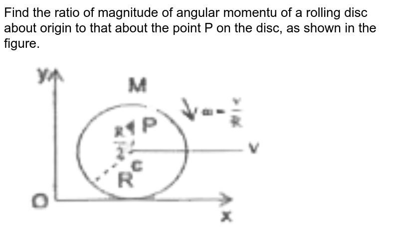 """Find the ratio of magnitude of angular momentu of a rolling disc about origin to that about the point P on the disc, as shown in the figure. <br> <img src=""""https://d10lpgp6xz60nq.cloudfront.net/physics_images/RNK_SM_FIITJEE_PHY_P1_E02_036_Q01.png"""" width=""""80%"""">"""