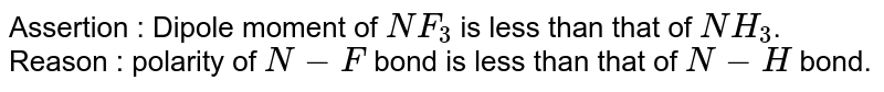 Assertion : Dipole moment of `NF_(3)` is less than that of `NH_(3)`. <br> Reason : polarity of `N-F` bond is less than that of `N-H` bond.