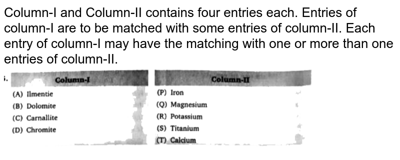 """Column-I and Column-II contains four entries each. Entries of column-I are to be matched with some entries of column-II. Each entry of column-I may have the matching with one or more than one entries of column-II. <br> <img src=""""https://d10lpgp6xz60nq.cloudfront.net/physics_images/BLJ_VKJ_ORG_CHE_C05_E05_005_Q01.png"""" width=""""80%"""">"""