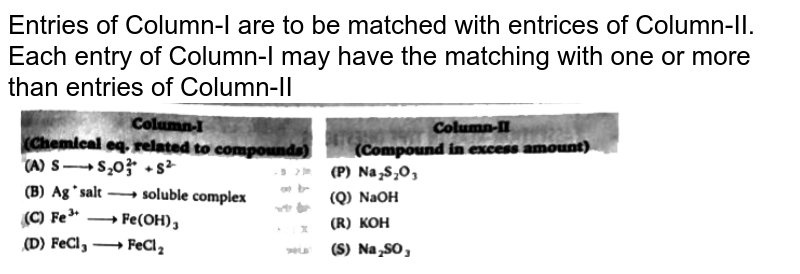 """Entries of Column-I are to be matched with entrices of Column-II. Each entry of Column-I may have the matching with one or more than entries of Column-II <br> <img src=""""https://d10lpgp6xz60nq.cloudfront.net/physics_images/BLJ_VKJ_ORG_CHE_C06_E05_004_Q01.png"""" width=""""80%"""">"""