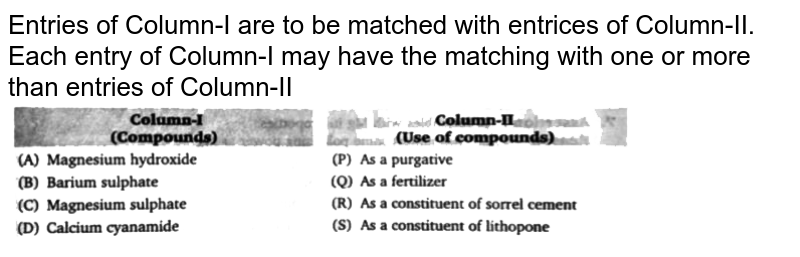 """Entries of Column-I are to be matched with entrices of Column-II. Each entry of Column-I may have the matching with one or more than entries of Column-II <br> <img src=""""https://d10lpgp6xz60nq.cloudfront.net/physics_images/BLJ_VKJ_ORG_CHE_C06_E05_006_Q01.png"""" width=""""80%"""">"""