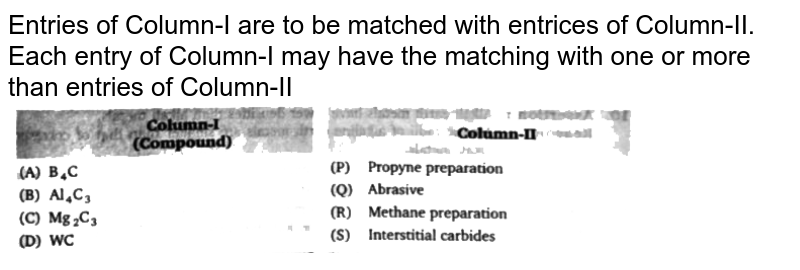 """Entries of Column-I are to be matched with entrices of Column-II. Each entry of Column-I may have the matching with one or more than entries of Column-II <br> <img src=""""https://d10lpgp6xz60nq.cloudfront.net/physics_images/BLJ_VKJ_ORG_CHE_C06_E05_007_Q01.png"""" width=""""80%"""">"""
