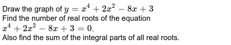 Draw the graph of `y=x^(4)+2x^(2)-8x+3` <br> Find the number of real roots of the equation `x^(4)+2x^(2)-8x+3=0`. <br> Also find the sum of the integral parts of all real roots.