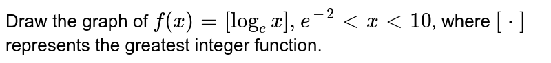Draw the graph of `f(x) = [log_(e)x], e^(-2) lt x lt 10`, where `[*]` represents the greatest integer function.