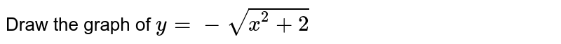 Draw the graph of `y= -sqrt(x^(2)+2)`