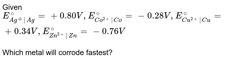 Given `E_(Ag^(o+)|Ag)^(@) = + 0.80V , E_(Co^(2+)|Co)^(@) = -0.28 V, E_(Cu^(2+)|Cu)^(@) = + 0.34V, E_(Zn^(2+)|Zn)^@ = -0.76 V` <br> Which metal will corrode fastest?