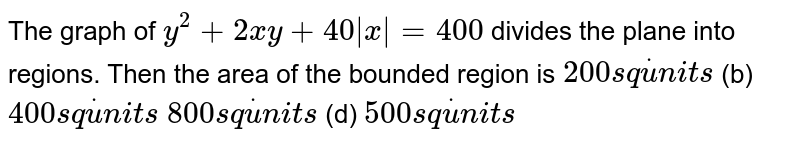 The graph of `y^2+2x y+40|x|=400` divides the plane into regions. Then the area of the bounded region is (a)`200s qdotu n i t s`  (b) `400s qdotu n i t s`  (c)`800s qdotu n i t s`  (d) `500s qdotu n i t s`
