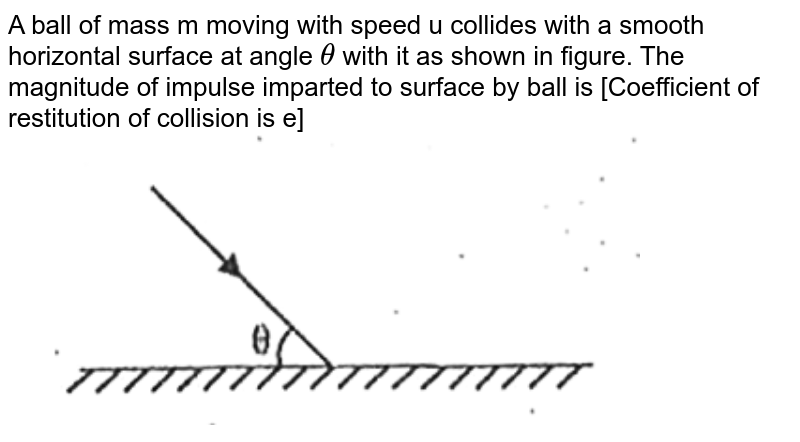 """A ball of mass m moving with speed u collides with a smooth horizontal surface at angle `theta` with it as shown in figure. The magnitude of impulse imparted to surface by ball is [Coefficient of restitution of collision is e] <br> <img src=""""https://d10lpgp6xz60nq.cloudfront.net/physics_images/AAK_P2_NEET_PHY_SP2_C06_E04_036_Q01.png"""" width=""""80%"""">"""