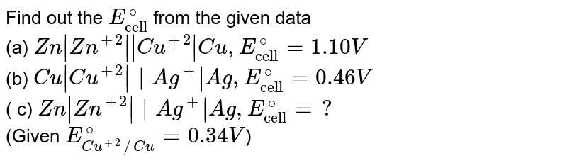 """Find out the `E_(""""cell"""")^(@)` from the given data <br> (a) `Zn