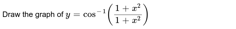 Draw the graph of `y=cos^(-1)((1+x^(2))/(1+x^(2)))`
