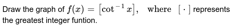 """Draw the graph of `f(x)=[cot^(-1)x],"""" where """"[*]` represents  the greatest integer funtion."""