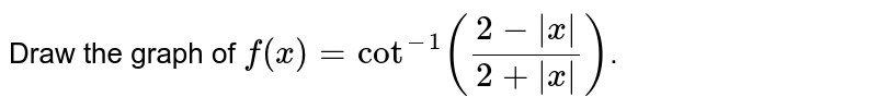 Draw the graph of `f(x) =cot^(-1)((2-|x|)/(2+|x|))`.