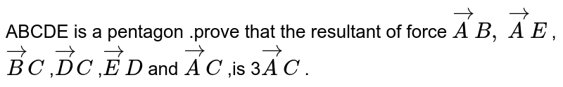 ABCDE is a pentagon .prove   that the resultant of force ` vec A B ,` ` vec A E` ,` vec B C` ,` vec D C` ,` vec E D` and ` vec A C` ,is 3` vec A C` .