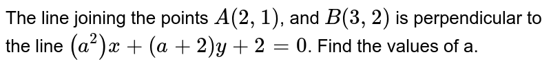 The line joining the points `A(2,1)`, and `B(3,2)` is perpendicular to the line `(a^2)x+(a+2)y+2=0`. Find the values of a.