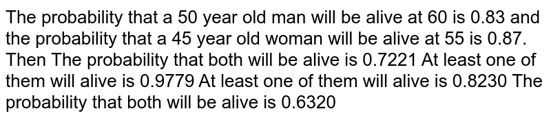 The probability that a 50 year old man will be alive at 60 is 0.83 and   the probability that a 45 year old woman will be alive at 55 is 0.87. Then The probability that both will be alive is 0.7221 At least one of them will alive is 0.9779 At least one of them will alive is 0.8230 The probability that both will be alive is 0.6320
