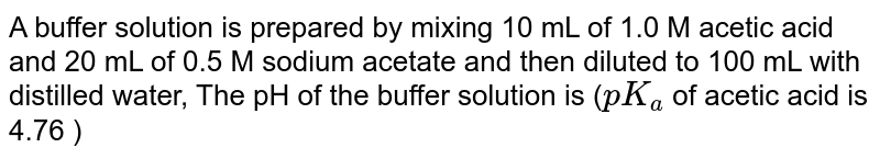 A buffer solution is prepared by mixing 10 mL of 1.0 M acetic acid and 20 mL of 0.5 M sodium acetate and then diluted to 100 mL with distilled water, The pH of the buffer solution is (`pK_(a)` of acetic acid is 4.76 )