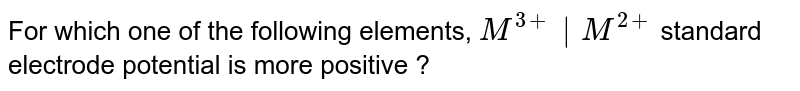For which one of the following elements, `M^(3+)|M^(2+)` standard electrode potential is more positive ?