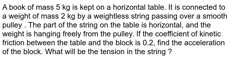 A book of mass 5 kg is kept on a horizontal table. It is connected to a weight of mass 2 kg by a weightless  string passing over a smooth pulley . The part of the string on the table is horizontal, and the weight is hanging freely from the pulley. If the coefficient of kinetic friction between  the table and the block is 0.2, find the acceleration of the block. What will be the tension in the string ?