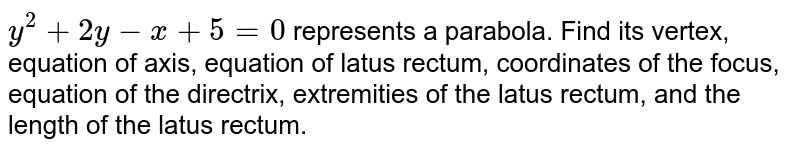 `y^2+2y-x+5=0` represents a parabola. Find its vertex, equation of axis, equation of latus   rectum, coordinates of the focus, equation of the directrix, extremities of   the latus rectum, and the length of the latus rectum.