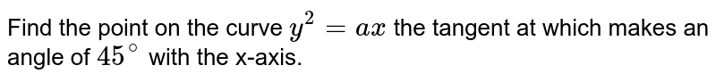 Find the point on the curve `y^2=a x` the tangent at which makes an angle of `45^@` with the x-axis.
