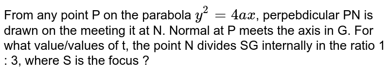 From any point P on the parabola `y^(2)=4ax`, perpebdicular PN is drawn on the meeting it at N. Normal at P meets the axis in G. For what value/values of t, the point N divides SG internally in the ratio 1 : 3, where S is the focus ?