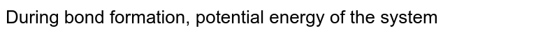 During bond formation, potential energy of the system