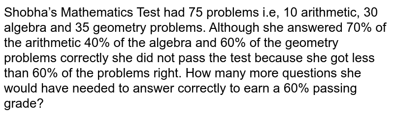 Shobha's Mathematics Test had 75 problems i.e, 10 arithmetic, 30   algebra and 35 geometry problems. Although she answered 70% of the arithmetic   40% of the algebra and 60% of the geometry problems correctly she did not   pass the test because she got less than 60% of the problems right. How many   more questions she would have needed to answer correctly to earn a 60%   passing grade?