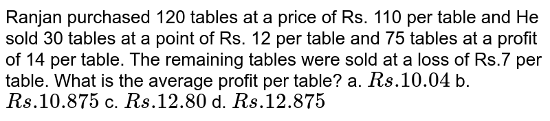 Ranjan purchased 120 tables at a price of Rs. 110 per table and He sold 30 tables at a point of Rs. 12 per table and 75 tables at a profit of 14 per table. The remaining tables were sold at a loss of Rs.7 per table. What is the average profit per table? a. `Rs .10.04` b. `Rs .10.875` c. `Rs .12.80` d. `Rs .12.875`