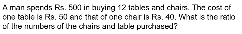 A man spends Rs. 500 in buying 12 tables and   chairs. The cost of one table is Rs. 50 and that of one chair is Rs. 40. What   is the ratio of the numbers of the chairs and table purchased?