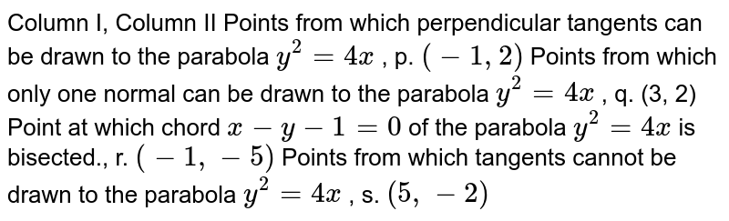 Column I,   Column II Points from   which perpendicular tangents can be drawn to the parabola `y^2=4x` , p. `(-1,2)`  Points from   which only one normal can be drawn to the parabola `y^2=4x` , q. (3, 2) Point at   which chord `x-y-1=0` of the   parabola `y^2=4x` is bisected.,   r. `(-1,-5)`  Points from   which tangents cannot be drawn to the parabola `y^2=4x` , s. `(5,-2)`