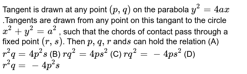 Tangent is drawn at any point `(p ,q)` on the parabola `y^2=4a x` .Tangents are drawn from any point on this tangant to the circle `x^2+y^2=a^2` , such that the chords of contact pass through a fixed point `(r , s)`. Then `p ,q ,r` and`s` can hold the relation  (A) `r^2q=4p^2s`  (B) `r q^2=4p s^2`  (C) `r q^2=-4p s^2`  (D) `r^2q=-4p^2s`