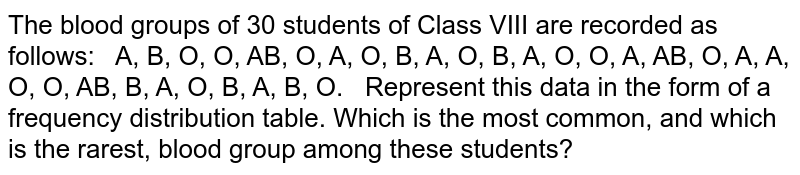 The blood groups of 30 students of Class VIII are   recorded as follows:   A, B, O, O, AB, O, A, O, B, A, O, B, A, O, O, A, AB, O, A, A, O, O, AB, B, A, O, B, A, B, O.  Represent this data in the form of a frequency   distribution table. Which is the most common, and which is the rarest, blood   group among these students?
