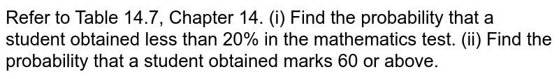 Refer to Table 14.7, Chapter 14. (i) Find the probability that a student obtained   less than 20% in the mathematics test. (ii) Find the probability that a student obtained   marks 60 or above.