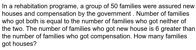 In a rehabitation programe, a group of 50 families were assured new houses and compensation by the government . Number of families who got both is equal to the number of families who got neither of the two. The number of families who got new house is 6 greater than the number of families who got compensation. How many families got houses?