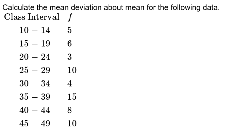 """Calculate the mean deviation about mean for the following data. <br> `{:(""""Class Interval"""",f),(""""   """"10-14,5),(""""   """"15-19,6),(""""   """"20-24,3),(""""   """"25-29,10),(""""   """"30-34,4),(""""   """"35-39,15),(""""   """"40-44,8),(""""   """"45-49,10):}`"""