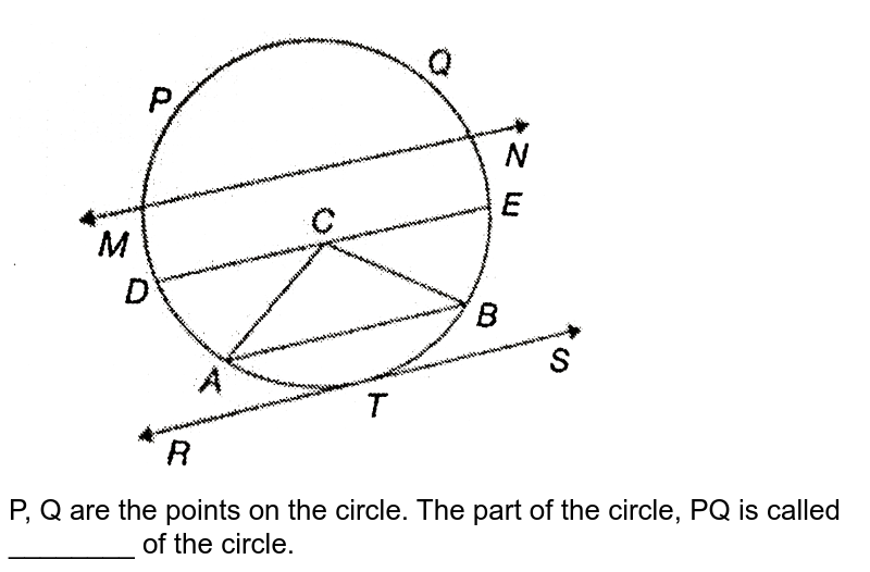 """<img src=""""https://d10lpgp6xz60nq.cloudfront.net/physics_images/PS_MATH_VI_C08_E01_025_Q01.png"""" width=""""80%""""> <br> P, Q are the points on the circle. The  part of the circle, PQ is called ________ of the circle."""