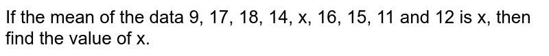 If the mean of the data 9, 17, 18, 14, x, 16, 15, 11 and 12 is x, then find the value of x.
