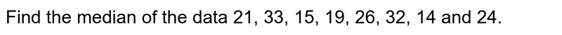 Find the median of the data 21, 33, 15, 19, 26, 32, 14 and 24.