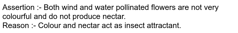 Assertion :- Both wind and water pollinated flowers are not very colourful and do not produce nectar. <br> Reason :- Colour and nectar act as insect attractant.