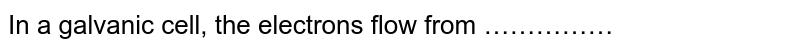 In a galvanic cell, the electrons flow from ……………