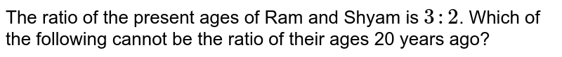 The ratio of the present ages of Ram and Shyam is ` 3 : 2`. Which of the following cannot be the  ratio of their ages 20 years ago?