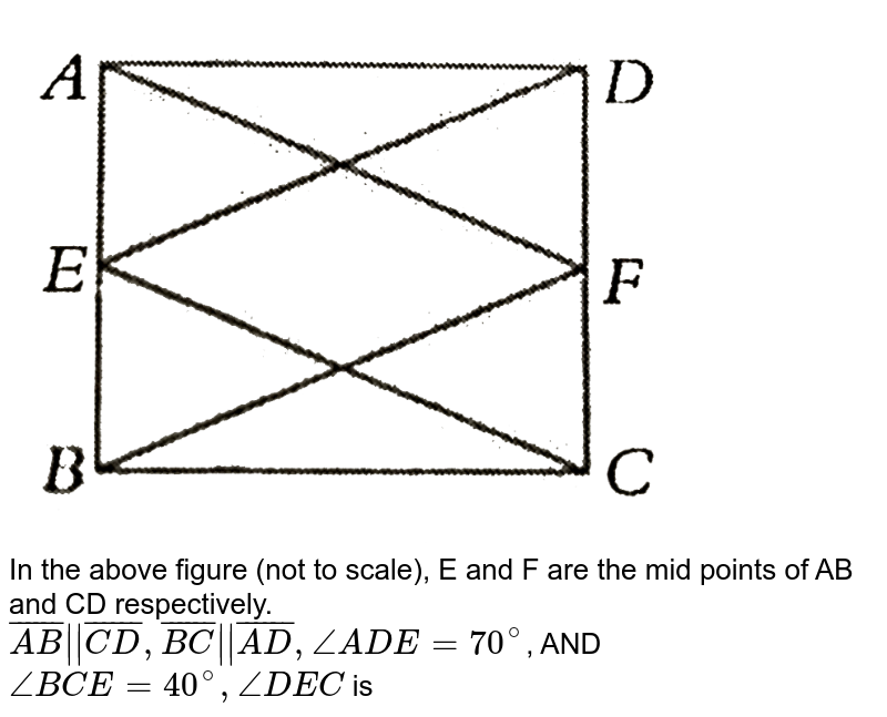 """<img src=""""https://d10lpgp6xz60nq.cloudfront.net/physics_images/PS_MATH_VIII_C16_E04_007_Q01.png"""" width=""""80%""""> <br> In the above figure (not to scale), E and F are the mid points of AB and CD respectively. <br> `bar(AB)    bar(CD),bar(BC)  bar(AD),/_ADE =70^(@)`, AND `/_BCE =40^(@), /_DEC` is"""