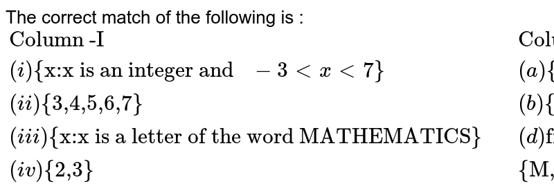 """The correct match of the following is :  <br> `{:(""""Column -I"""",,""""Column -II""""),((i)""""{x:x is an integer and """" -3ltxlt7""""}"""",,(a) """"{x:x is a prime number and divisor of 6}""""),((ii)""""{3,4,5,6,7}"""",,(b)""""{4,5,6}""""),((iii)""""{x:x is a letter of the word MATHEMATICS}"""",,(d)""""finite set""""),((iv) """"{2,3}"""",,""""{M,A,T,H,E,I,C,S}""""):}`"""